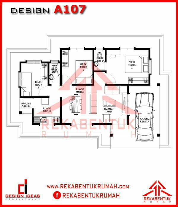 Design Rumah A1 07 3 Bilik 2 Bilik Air 40 X25 846 Kaki Persegi Rekabentukrumah