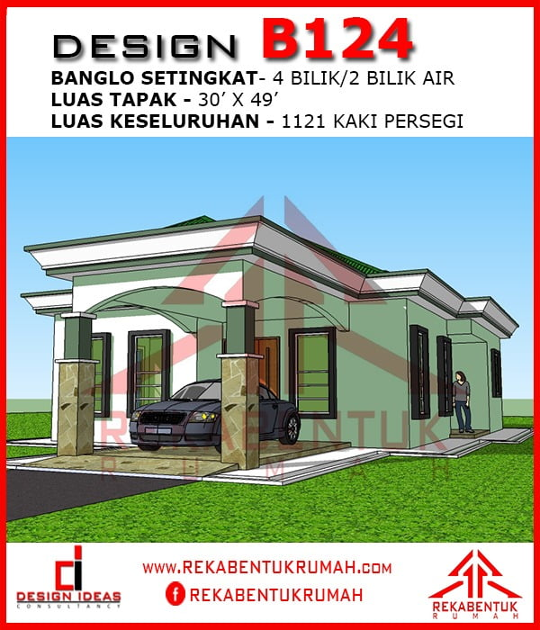 Design Rumah B1 24 4 Bilik 2 Bilik Air 30 Kaki X 49 Kaki 1121 Kaki Persegi Rekabentukrumah