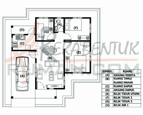 pelan rumah 3 bilik