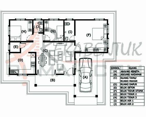 Design Rumah B1 32 3 Bilik 2 Air 45 X35 1226 Kaki Gi