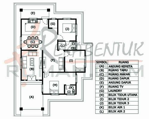 Design Rumah C1 05 3 Bilik 2 Air 35 X 54 1457 Kaki Gi