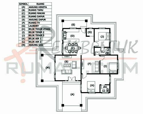 Design Rumah C1 09 3 Bilik 2 Air 48 X 54 1673 Kaki