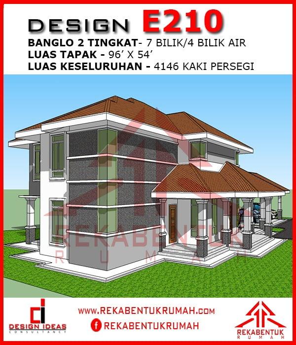 Design Rumah E2 10 7 Bilik 4 Bilik Air 96 X54 4146 Kaki Persegi Rekabentukrumah