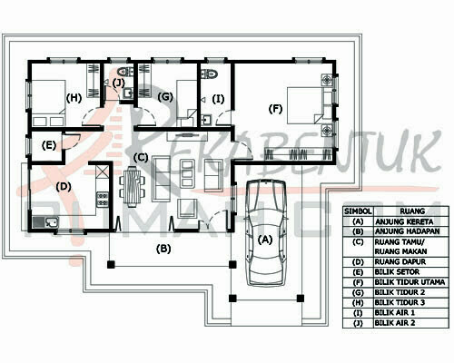 Design Rumah B1 13 3 Bilik 2 Air 45 X35 1226 Kaki Gi